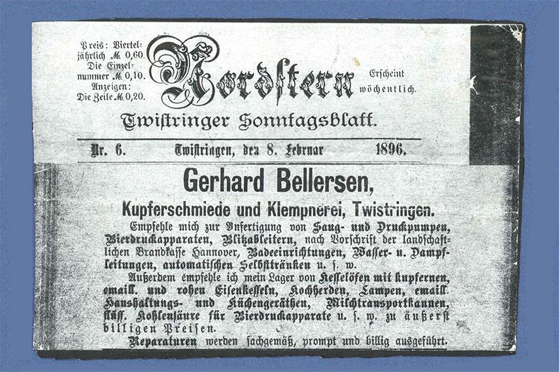 Werbeanzeige der Kupferschmiede und Klempnerei Gerhard Bellersen im Sonntagsblatt 1896
