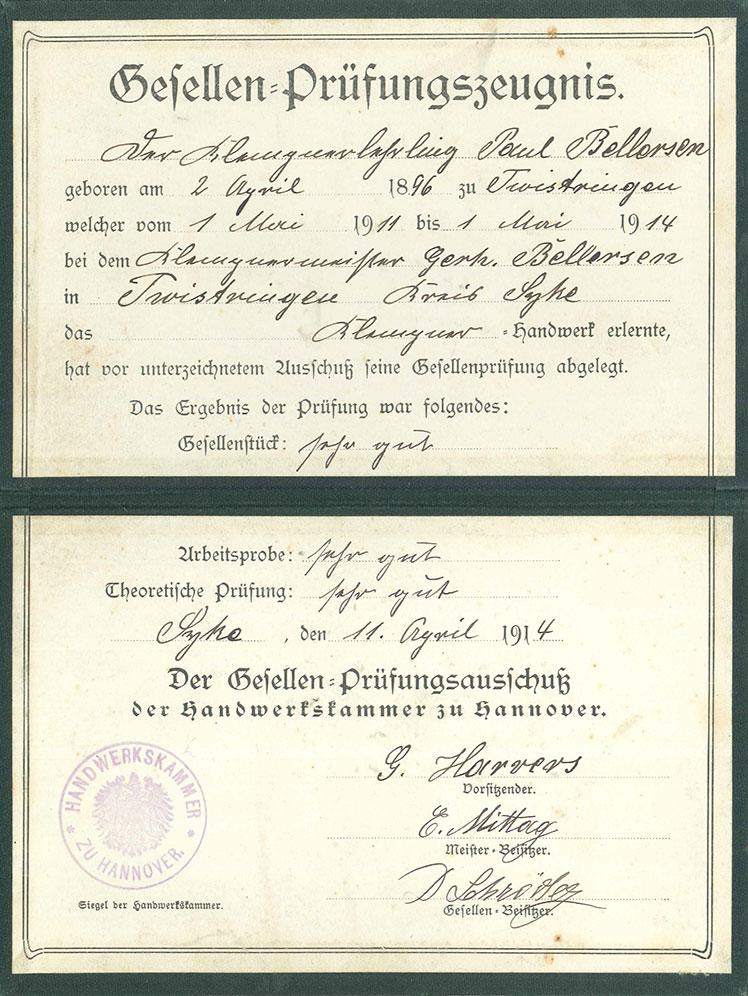 Gesellen-Prüfungszeugnis Paul Bellersen von 1914