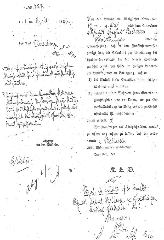 Dokument zur Verleihung des Landmeisterrechts 1842