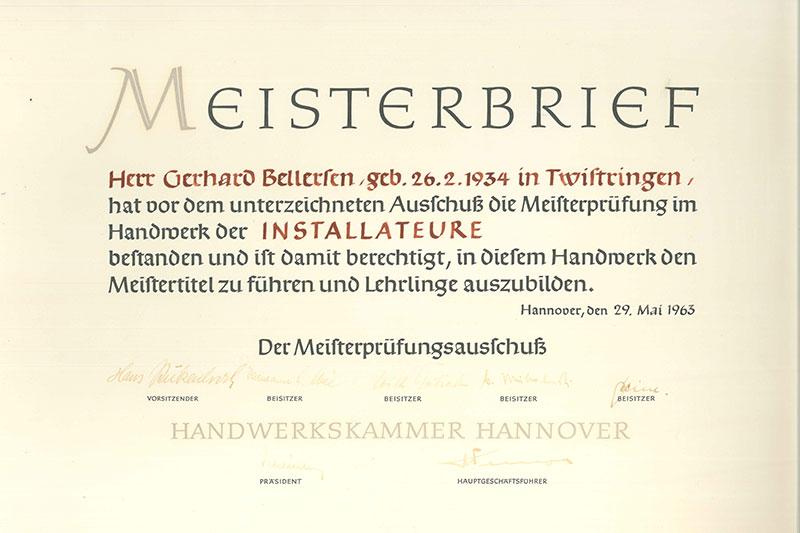 Meisterbrief1 Gerhard Bellersen von 1963