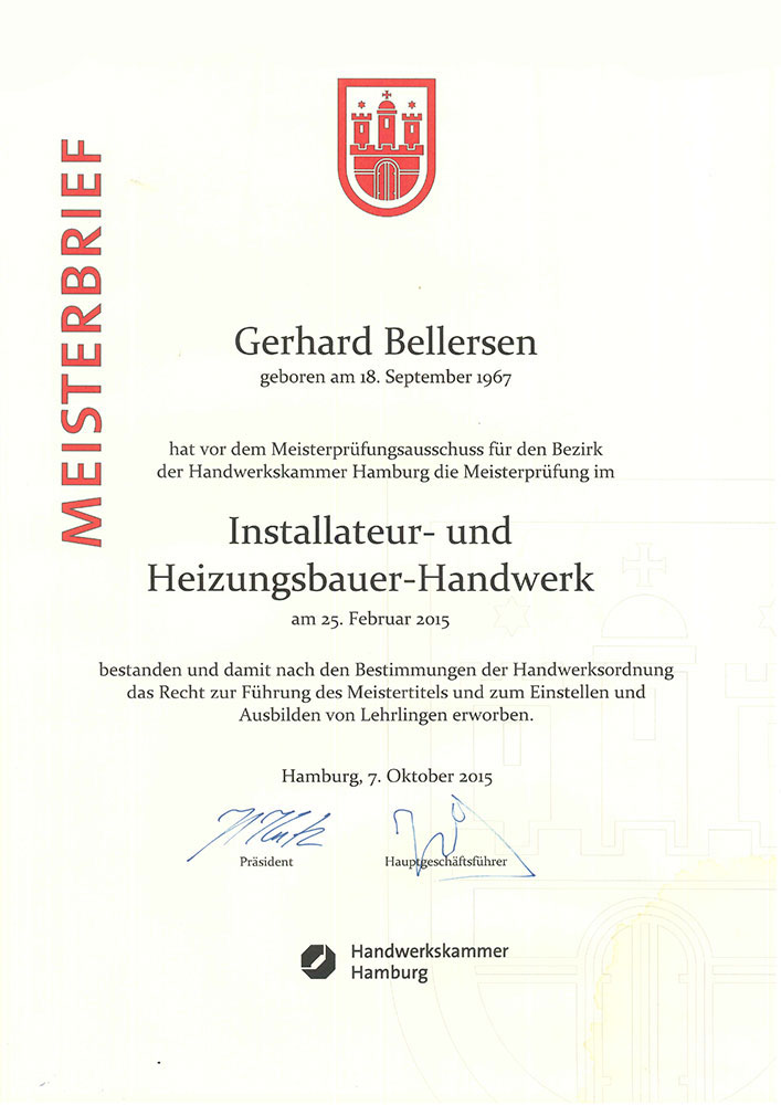 Meisterbrief von Gerhard Bellersen 2015