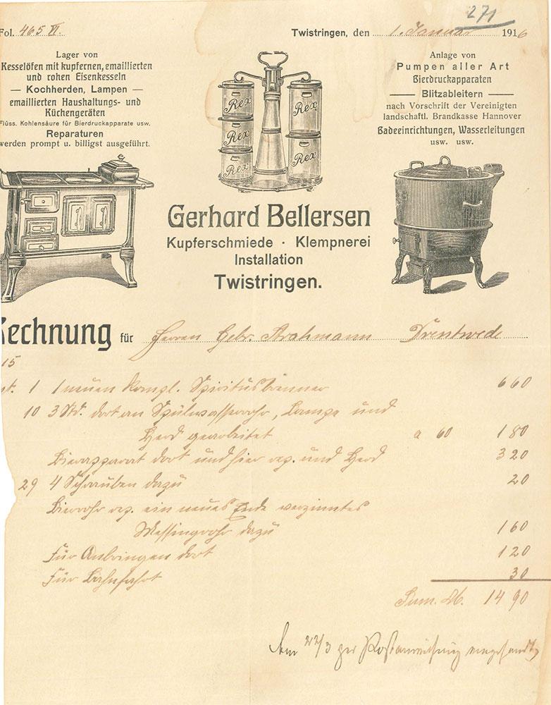 Rechnung Rechnung aus der Kupferschmiede Bellersen von 1916 Kupferschmiede Bellersen von 1916